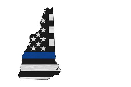 American thin blue line flag on map of New Hampshire for your support of police officers Banque d'images - 142152811