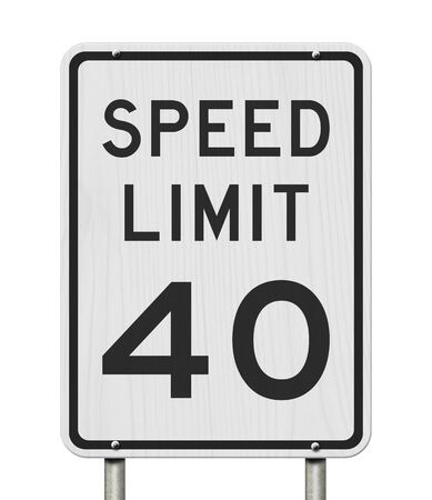 US 40 mph Speed Limit sign isolated over white