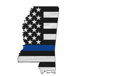 American thin blue line flag on map of Mississippi for your support of police officers