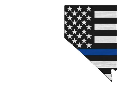American thin blue line flag on map of Nevada for your support of police officers Stock Photo