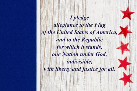 USA Pledge of Allegiance with red stars with blue sidebar weathered whitewash wood