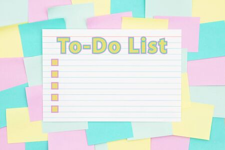 To-Do List type with checkboxes on a sticky note background with multi-color notes with copy space for your message