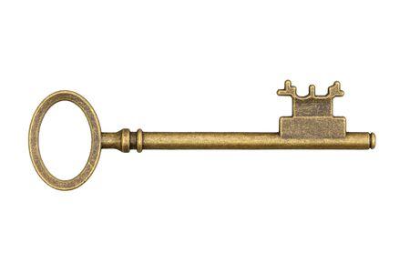 Vintage retro bronze weathered and distressed skeleton key isolated on white