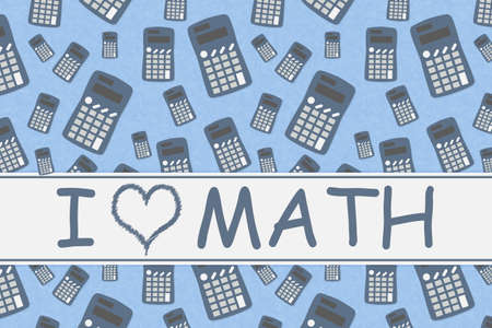 I love math word message on a banner with calculator Reklamní fotografie - 151142809