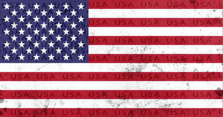 American flag red, white and blue stars and stripes on grunge background with the word USA throughout