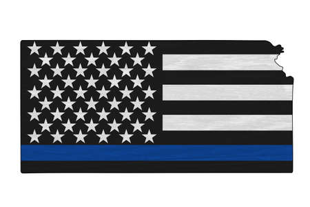 American thin blue line flag on map of Kansas for your support of police officers