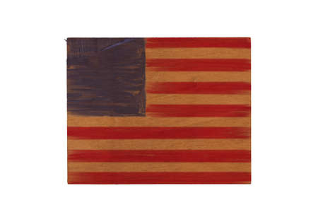 American flag hand painted abstract with stripes red and blue on grunge wood sign