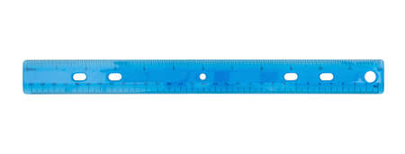 Blue plastic 12 inch ruler with beveled edge isolated on white