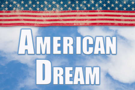 American Dream word message with retro USA stars and stripes ribbon clouds and sky Stock Photo