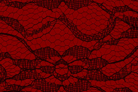 Delicate lace textured material on red paper background with copy space for message or use as a texture Stock Photo