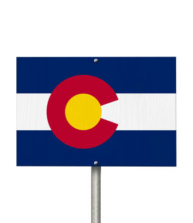 State of Colorado road sign in the shape of the state map with the flag isolated over white
