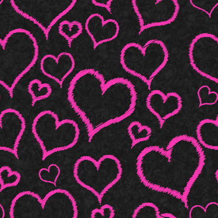 Illustration pink hearts background that is repeat and seamless on black