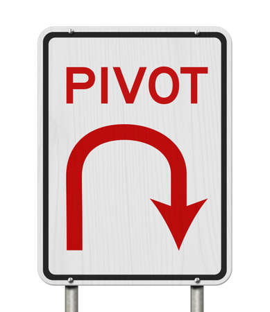 Pivot road sign with U-turn arrow icon isolated on white