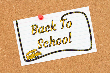 Back to School word message on index card on a corkboard