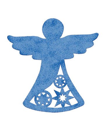 Blue paper angel with wings and stars isolated on white