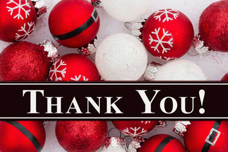 Thank You message with a lot of red and white Christmas ball ornaments