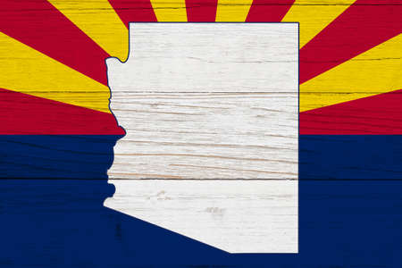 Arizona state flag with the state map over weathered wood with copy space for your Arizonan message