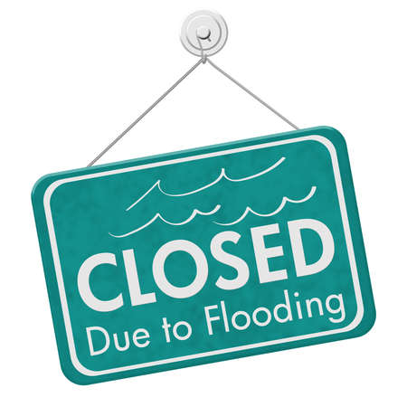 Closed Due to Flooding sign isolated over white Archivio Fotografico