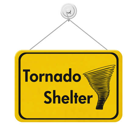 Tornado Shelter message on yellow hanging sign isolated on white