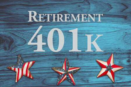 Retirement 401k message on red, white and blue USA flag stars and stripes 版權商用圖片