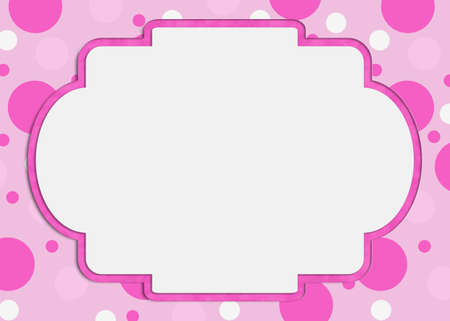 Blank pink polka dot greeting card with copy space for your party message