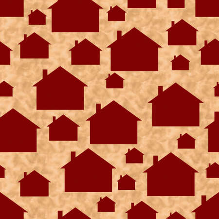 Illustration red and beige house pattern background that is seamless and repeats 版權商用圖片