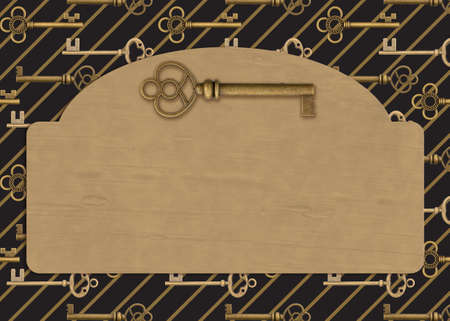 Blank sign with gold keys background for your security message