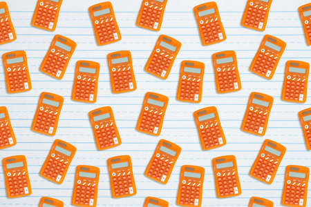 Orange calculator background on ruled paper for your school or finance design