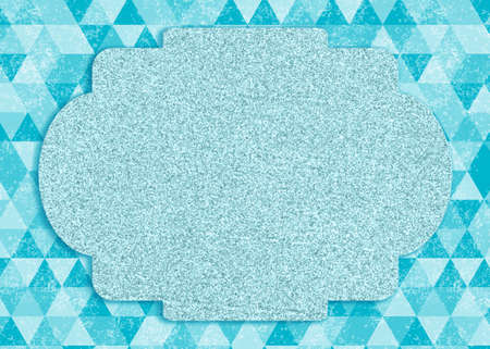 Blank greeting card of teal triangles with a frame for your holiday message