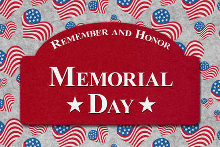 Memorial Day greeting sign with red, white and blue USA flag hearts