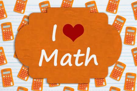 I love math sign on orange calculator on ruled paper 版權商用圖片