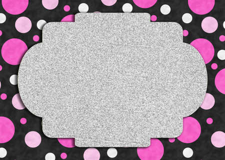 Blank silver glitter greeting card with pink and white polka dots on black 版權商用圖片