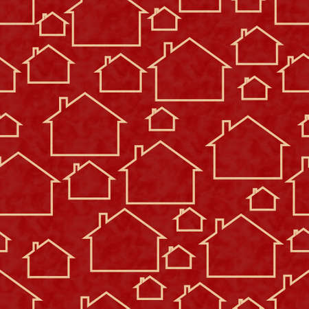 Illustration red and beige house pattern