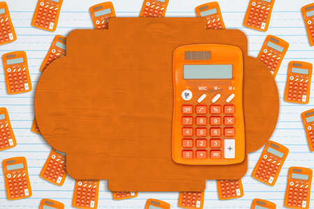 Blank sign on orange calculator on ruled paper for your school or finance message