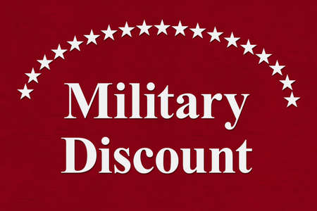 Military Discounts message on with white stars on red