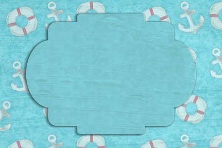 Blank sign on anchor and life preserver background for your nautical or ocean design