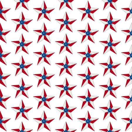 Illustration red, white and blue USA flag stars pattern background that is seamless and repeats