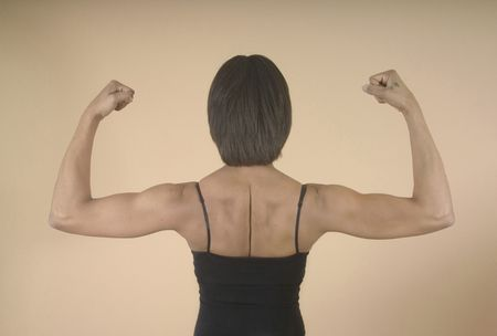 defined: A woman with well defined muscles