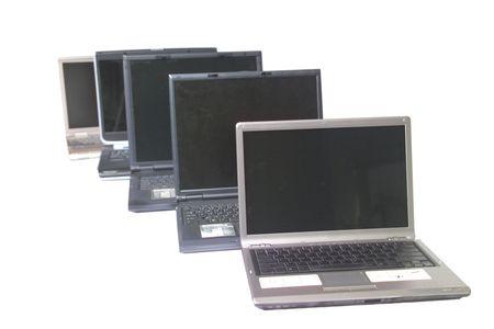 Line of laptop computers Stock Photo