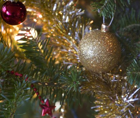 Detail of Christmas tree with ornaments Stock Photo