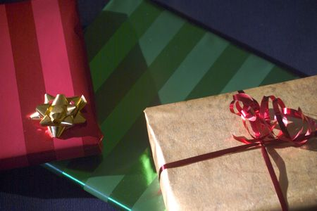 Gifts wrapped in colored paper