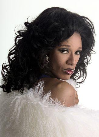 drag artist with white fur Stock Photo