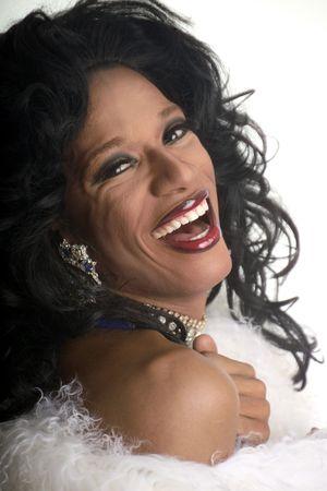 laughing drag artist