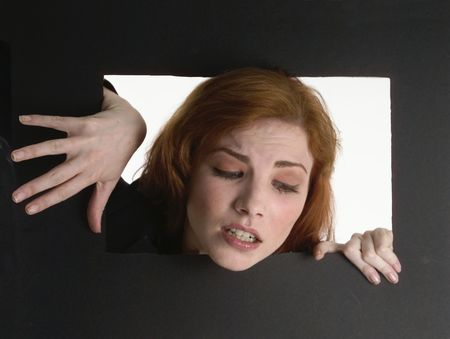 Weird image of a woman in a box