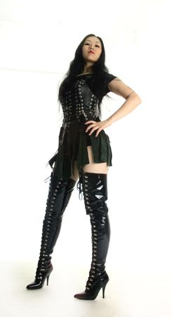leather boots: Haughty woman in long boots