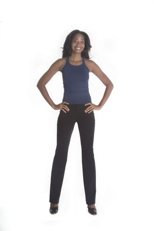 Happy African American with her hands on her hips