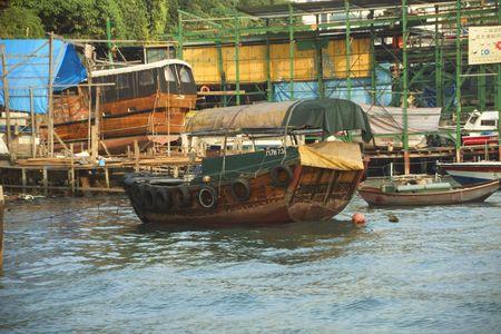 Boats in boat yard in Hong Kongs Aberdeen Harbour