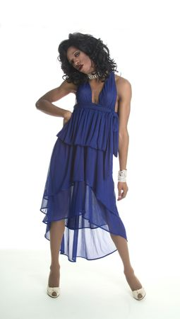 drag queen in a blue dress Stock Photo