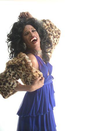drag artist with a fur