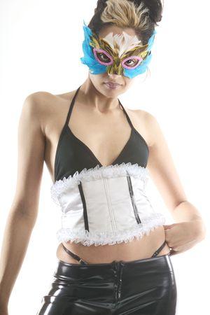 wierd: Masked woman in a corset
